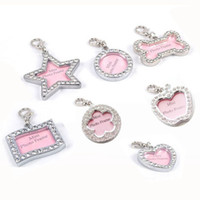 Wholesale Zinc Tags Wholesale - 10pcs Zinc Alloy Pet Dog ID Tags pendants Inlaided with bling diamonds 7 shapes pet tags