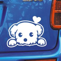 Wholesale Cute Animal Stickers - 1pcs Automobile Exterior Accessory Car Stickers 20cm * 10cm Cute Dog Car Sticker Automobile Paster Auto Decal