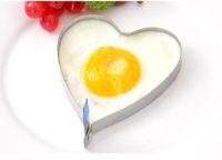 anillos de huevo fritos en forma de corazón al por mayor-Inoxidable en forma de corazón es huevo frito tortilla de huevo frito molde panqueque del dril de algodón DIY