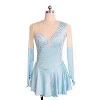 kurze kleider blau nackt großhandel-Hellblau Spandex Nude Tüll Langarm Perlen Wettbewerb Kleid Mädchen Mode 2017 Kinder Kleid Kurze Länge
