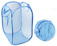 Wholesale Wholesale Wire Baskets - Pick up the Dirty clothes collection bag multi-purpose storage Foldable net bag Home Storage Double circle large Clothes basket wholesale