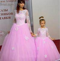 images de robe mère fille achat en gros de-Cute Pink Une ligne Tulle robes de mère et fille pour la robe de communion à manches longues avec des robes de soirée formelles