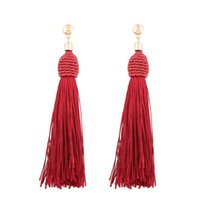 Wholesale Handmade Fashion Earrings - 2017 Ethnic Long Tassel Drop Earring Female Fashion Handmade Christmas Gift Vintage Bohemia Red Dangle Earrings for Women Jewelry Wholesale