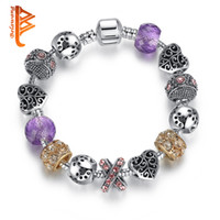 Wholesale Glass Bead Mixed Shapes - BELAWANG Silver Plated Heart Shape CZ Charm Bracelets for Women With Purple Murano Glass Beads Bracelets&Bangles DIY Mix Style Beads Jewelry