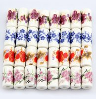 Wholesale Diy Loose Ceramic Beads - Porcelain Beads, 9mm*17mm,DIY accessories ceramic loose beads,flower design,more colors for choice sold per bag of 100 pcs