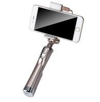 Wholesale Top Android Stick - Top Quality Bluetooth Wireless Selfie Stick Sticks Monopod For iPhone Galaxy IOS Android SmartPhone W  Led Light Flash + Mirror