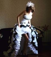 spitze gerade hochzeitskleid großhandel-2018 neues Modell gekräuselte Organza schnüren sich oben hallo gerade Ausschnitt Hochzeitskleid Welle Details Brautkleid