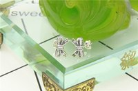Wholesale Bowknot Shiny - Authentic 925 sterling silver jewelry Lovely Bowknot earrings sterling silver Shiny little studs wholesale fashion earings fit pandora