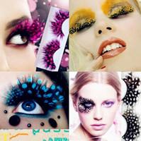 Wholesale Colorful False Feather Lashes - Colorful Fashion 3D False Eyelashes Handmade Eyelashes False Eyelash Party Gorgeous Exaggeration Eyelash Stage Eye Makeup CCA8385 50pair