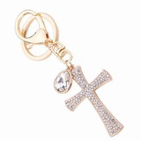 Wholesale Decorations Crystal Car - Women's Gift - Full Crystal Rhinestone Key Charm Cross Keyring Keychain Car Decoration Fashion Jewelry Women Bag Accessories