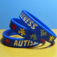 rätsel für erwachsene großhandel-DHL Silikon Armband für Männer Geschenk Autismus Awareness Designer Silikon Armband Puzzle Brief Armband Armband für Jugendliche und Erwachsene