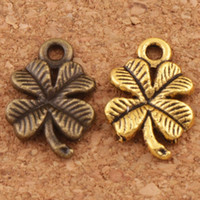 Wholesale lucky clover pendant - Lucky Clover Charms Pendants Jewelry DIY 200pcs lot Antique Silver Gold Bronze L318 15.3x10.2mm Findings