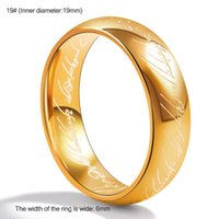 Wholesale 18k Cocktail Ring - Lord of The Ring Titanium Steel Wedding Rings Engagement Cocktail Parents Gift Couple Bands Hobbit Rings Movie Jewelry AB-045