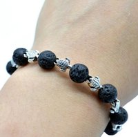 Wholesale Aromatherapy Gift Sets - 8mm Lava-rock Sea Turtles Charm Aromatherapy Essential Oil Diffuser Bracelets Natural Black Lava Bracelets Free Shipping