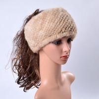 Wholesale Genuine Mink Hat - Ms.Leefur Winter Women's Fur Hats Real Mink Striped Genuine Fur Hair Band Casual Russian Natural Fur Hat Caps Female