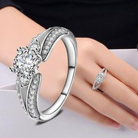 Fashion 925 Silver Solitaire Ring Bijoux Unsex Finger Rings Anneaux de cercle Crystal Diamond Rings Good Gift Hot Sale Livraison gratuite