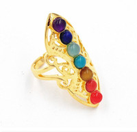 Wholesale Cool Rings For Women - Hot selling New Brand Cool Rings for women Silver and Golden Plated Ring With Nature Colorful Stone Women's Jewelry Cute Gift