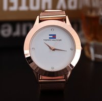Wholesale Table Pin - New Top brand watch women luxury dress full steel watches fashion casual Ladies quartz watch Rose gold Female table clock