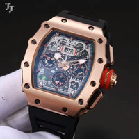 Wholesale Red Machinery - 43mm top brand European and American men's watches new RM 011 mineral tempered glass automatic machinery natural rubber strap