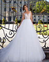 Wholesale Short Fluffy Lace Dresses - Fluffy A-line ball gown wedding gowns 2017 Milla nova bridal dresses lace bodice beaded many layers tulle skirt chapel train