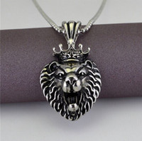 Wholesale cast steel alloys - Vintage Silver Lion Head Necklace Stainless Steel Casting Men Women Pendant Game Animation Accessories NE740