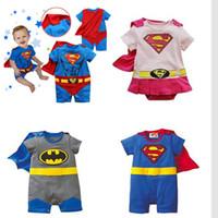 Wholesale Girls Superman Style Romper - Newbon Cartoon Romper Cloak Cotton Summer Style Baby Superman Batman Clothes Toddler Boys Girls Outfits