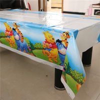 Wholesale Plastic Tablecloth Decorations - 108*180cm Kids Favors Winnie Pooh Cartoon Tablecover Plastic Tablecloth Baby Shower Happy Birthday Party Decoration Supplies