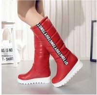 große stiefel frauen großhandel-Winter Frauen Schuhe Kniehohe Stiefel Weibliche Aufzug Flache Thermische Samt Schnee Stiefel Plattform Baumwolle gepolsterte Schuhe Große Größe 34-43 NMM5