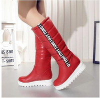 Wholesale Red Platform Wedge Boots - Winter Women Shoes Knee high Boots Female Elevator Flat Thermal Velvet Snow Boots Platform Cotton-padded Shoes Big Size 34-43 NMM5