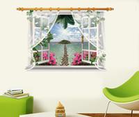 ingrosso design della camera da letto della spiaggia-SK9020F 3D Wall Sticker Visualizza Beach Sunshine Decalcomania del vinile Art Bedroom Home Decor per porte e finestre Murale