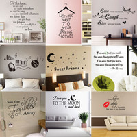Wholesale Stickers For Room Decor - 180 styles New Removable Vinyl Lettering Quote Wall Decals Home Decor Sticker Mordern art Mural for Kids Nursery Living Room