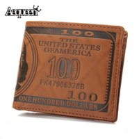 New Designer Men Wallet 100 Dollar Bill Design Bolsas Curtas Leather Male Pouch Notecase Retro Vintage Style Credit Card Holders