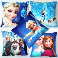 Wholesale Decorative Fashion Fabric - Fashion Design Cute Cartoon Frozen Print Lumbar Pillow Cover Back Seat Decorative Cushion Covers Fundas Cojin CC021