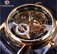 Wholesale Designer Men Watches Automatic - 2017 Forsining Hollow Engraving Skeleton Casual Designer Black Golden Case Gear Bezel Watches Men Luxury Brand Automatic Watches