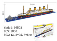 Wholesale Built Aircraft Models - Retail 1860+ pcs YZ Building Blocks aircraft carriers titanic ship model building blocks compatible with diamond blocks #66502-66503