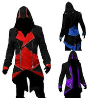 Wholesale Hot Assassin Costume - Hot Sale Custom handmade Fashion Assassins Creed 3 III Connor Kenway Hoodies Costumes Jackets Coat 10 colors choose direct from factory