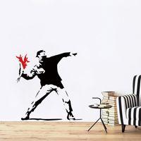 antorcha diy al por mayor-2017 Nuevo Diseño Banksy Inspirado Antorcha Lanzador de Vinilo Tatuajes de Pared Mural Creativo Wallpaper Arte DIY