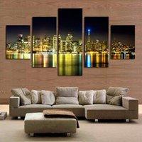 ingrosso notte pittura della città vista-5 pz city night view pittura wall art decoracion cuadros paesaggio tela quadri modulari tableau Toile peinture stampa foto