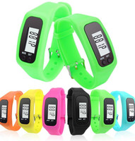 schrittzähler geschenk großhandel-Laufen gehen Schrittzähler Uhr LCD-Karte Lane Paar Silikon Geschenk Sport Armbanduhr Kalorienzähler Armband KKA2201