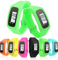 Wholesale Lcd Bracelet Watch - Running walk pedometer watch LCD card lane couple silicone gift sports bracelet watch Calorie Counter Bracelet KKA2201