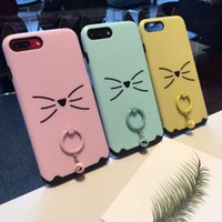 Telemóveis Cat Ear Cartoon Back Cover com dedo Ring Grip Bell Holder Phone Case para 6S 6PLUS