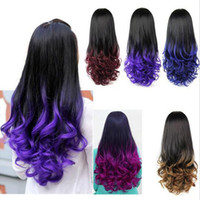 Wholesale Curly Dye Colors - HOT Ombre Wig Hair Fall Dip Dye Half Wig Curly Hair Wigs Two Tone Gradient Two Colored Synthetic Wigs for Women Assorted Colors Free shippin