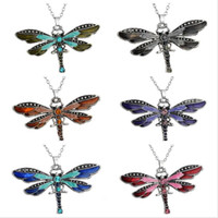 Wholesale Crystal Dragonfly Necklace - Best gift Dragonfly creative necklace explosion paragraph accessories sweater chain WFN019 (with chain) mix order 20 pieces a lot