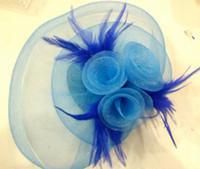 Wholesale Mesh Hat Clip - FEATHER HAIR MESH HAT FASCINATOR CLIP FLOWER WEDDING PARTY Fascinator 20pcs lot#1952