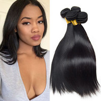 4 pièces brésiliennes Straight Bundles Real Human Hair Extensions Natural Black Indian Peruvian Malaysian Cheap Straight Weave Sale