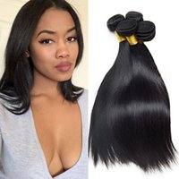 Wholesale Wholesale Real Human Hair Extensions - 4 Pieces Brazilian Straight Bundles Real Human Hair Extensions Natural Black Indian Peruvian Malaysian Cheap Straight Weave Sale