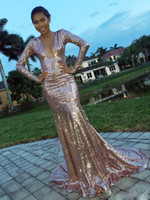 Wholesale Mermaid Evening Dresses Online - Stunning Pink Sequin Mermaid Prom Dresses Long Sleeves Sexy Deep V Prom Gowns Sweep Train Cheap Formal Evening Dresses Online Sale