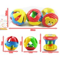 Wholesale Fancy Bedding - Wholesale- 3PCS Funny Plastic Animal Handbells Musical Developmental Bed Bell Kid Baby Fancy Toy Rattle Three color Ball