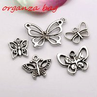 ingrosso scivolo farfalla per braccialetto-Vendita calda! 100 pezzi argento antico in lega di zinco misto farfalla pendenti di fascino gioielli fai da te collana braccialetto adatto