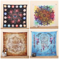 Wholesale patterned bath mats - 20yx Brown Mandala Tapestry Geometric Pattern Beach Towel Square Retro Mat Soft Towels Europe And The United States Hot Sale